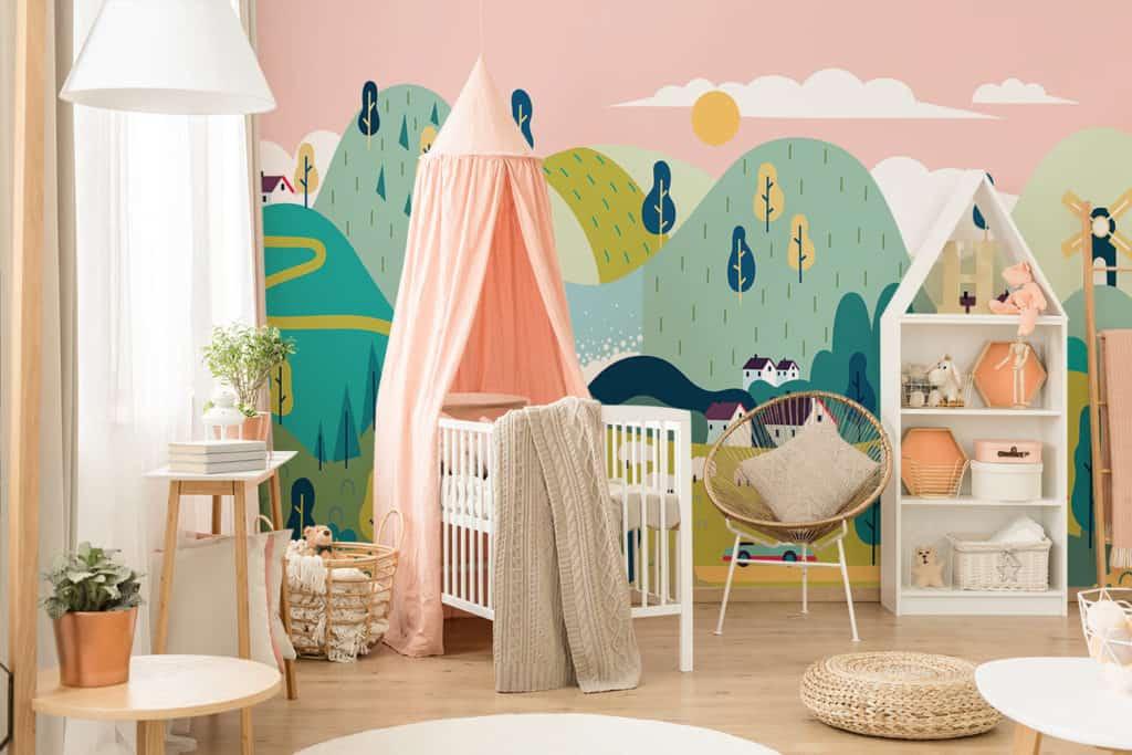 Kinderzimmer mit Fototapete Märchenlandschaft